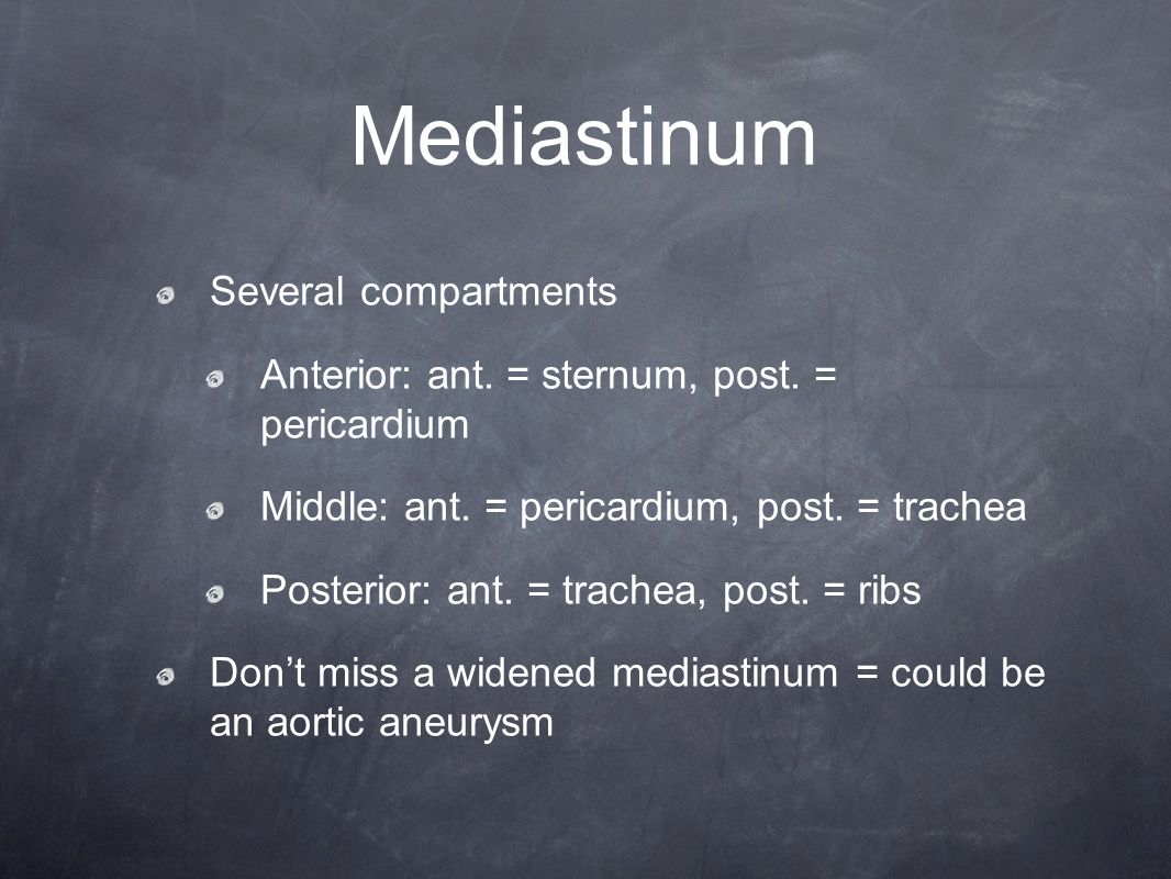 Mediastinum Several compartments