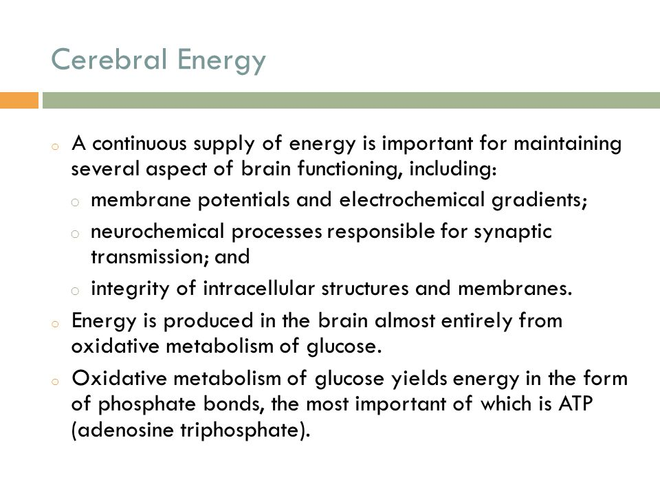 Cerebral Energy A continuous supply of energy is important for maintaining several aspect of brain functioning, including: