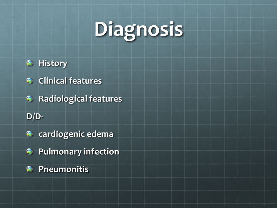 Diagnosis History Clinical features Radiological features D/D-