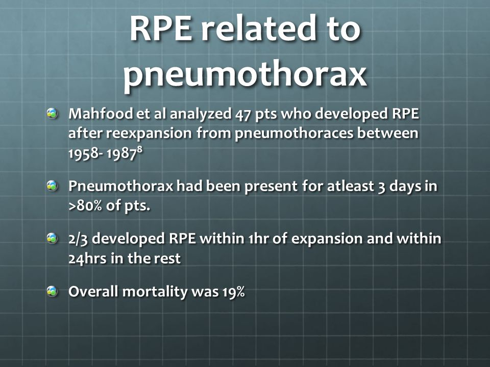 RPE related to pneumothorax