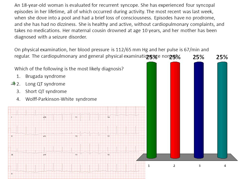 An 18-year-old woman is evaluated for recurrent syncope