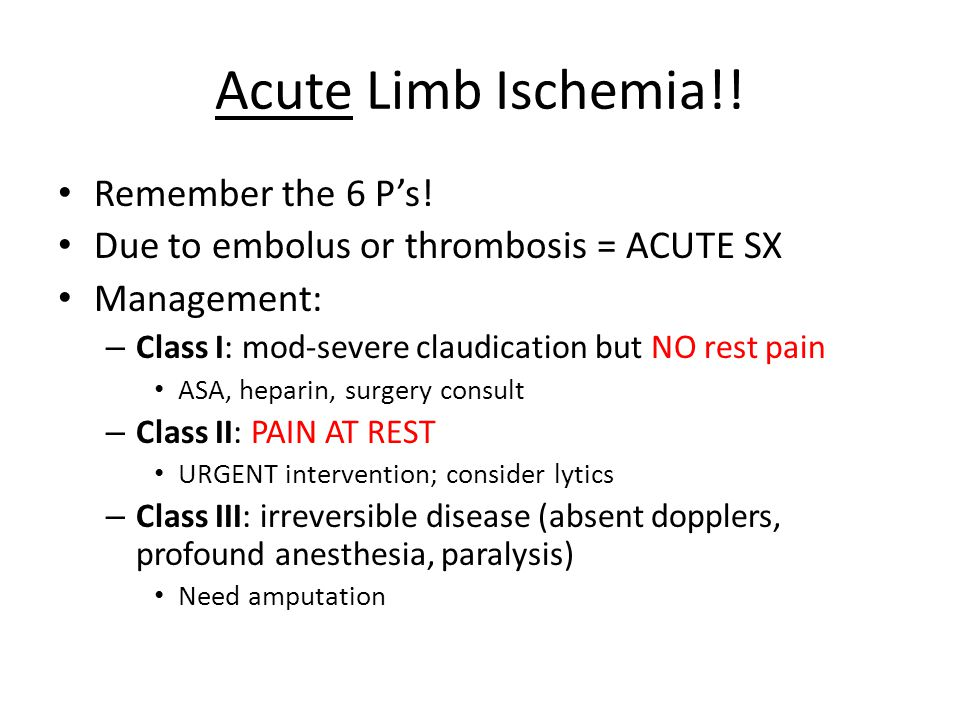 Acute Limb Ischemia!! Remember the 6 P's!