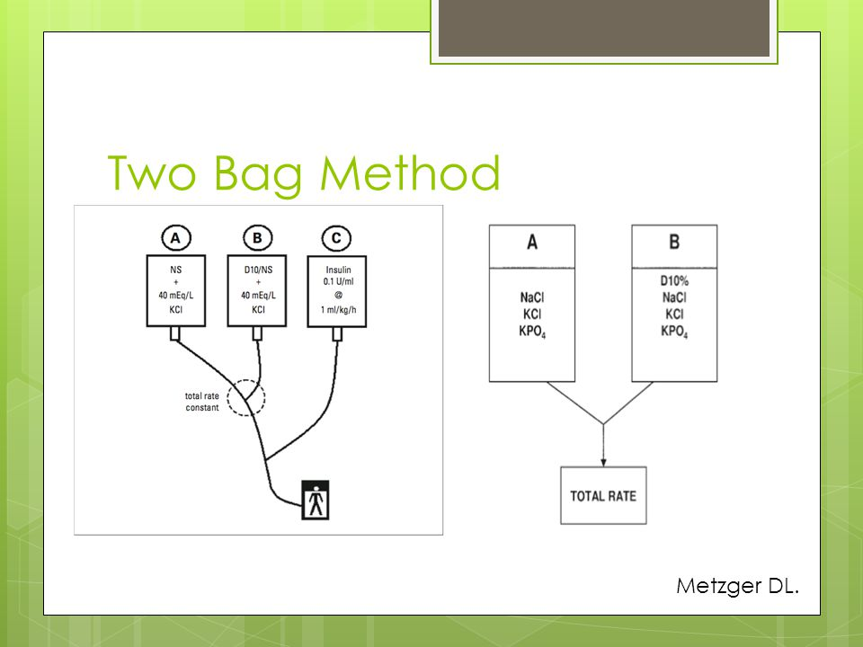 Two Bag Method We have a K phos and Kcl in our bags Metzger DL.