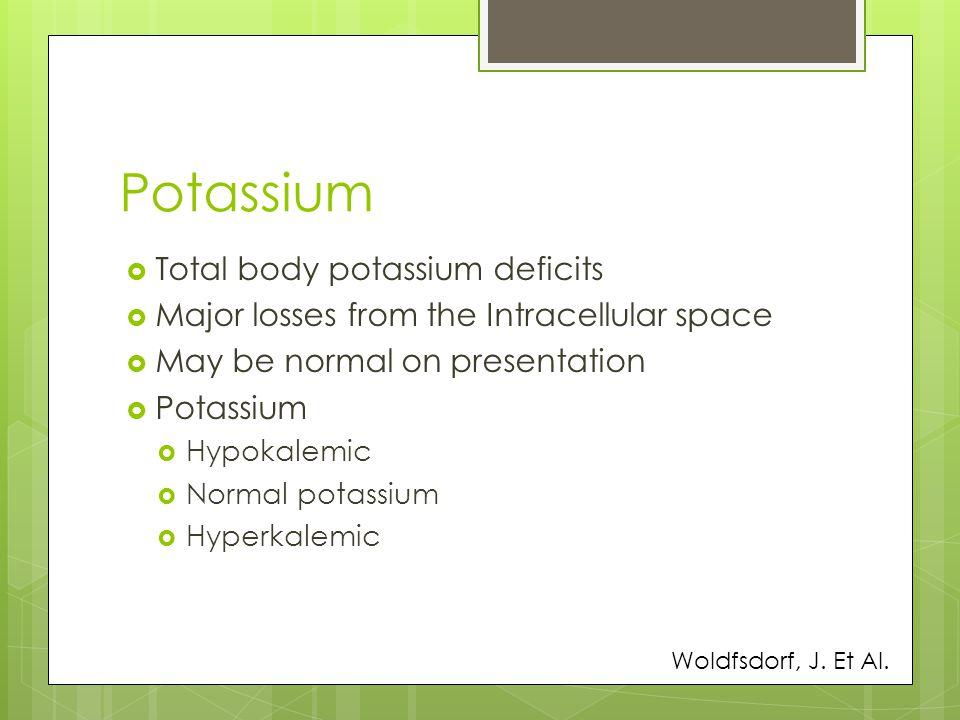Potassium Total body potassium deficits