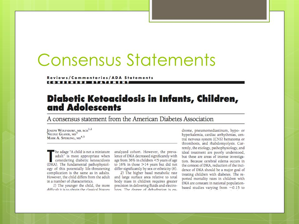 Consensus Statements