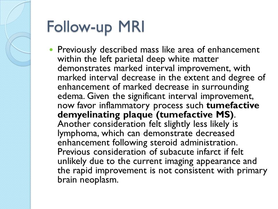 Follow-up MRI