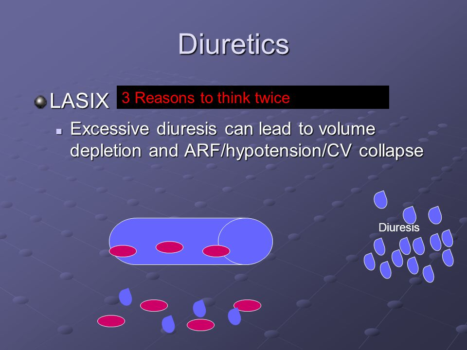 Diuretics LASIX. Excessive diuresis can lead to volume depletion and ARF/hypotension/CV collapse. 3 Reasons to think twice.