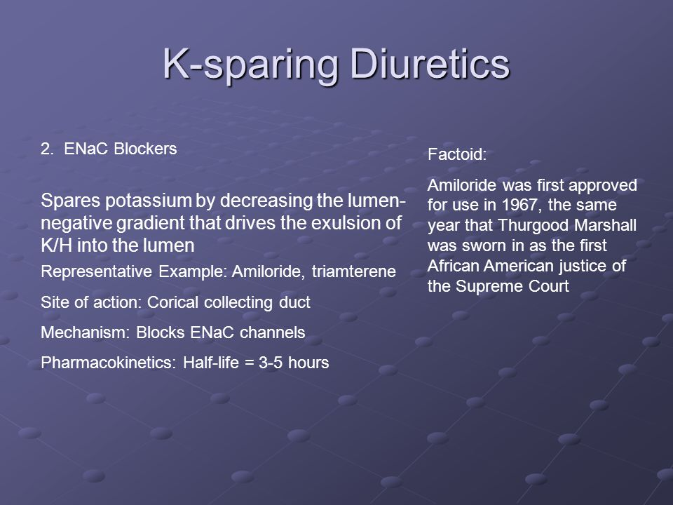 K-sparing Diuretics 2. ENaC Blockers. Factoid: