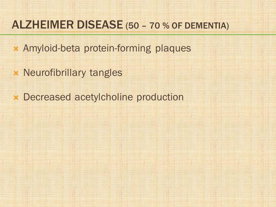 Alzheimer Disease (50 – 70 % of Dementia)