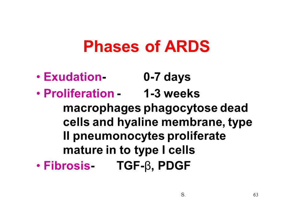Phases of ARDS • Exudation- 0-7 days • Proliferation - 1-3 weeks