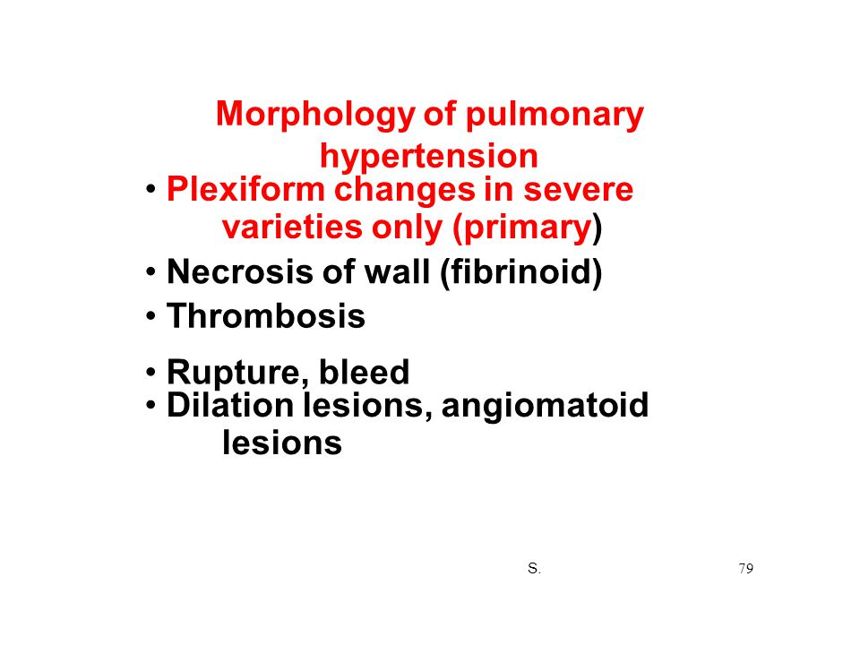 Morphology of pulmonary hypertension