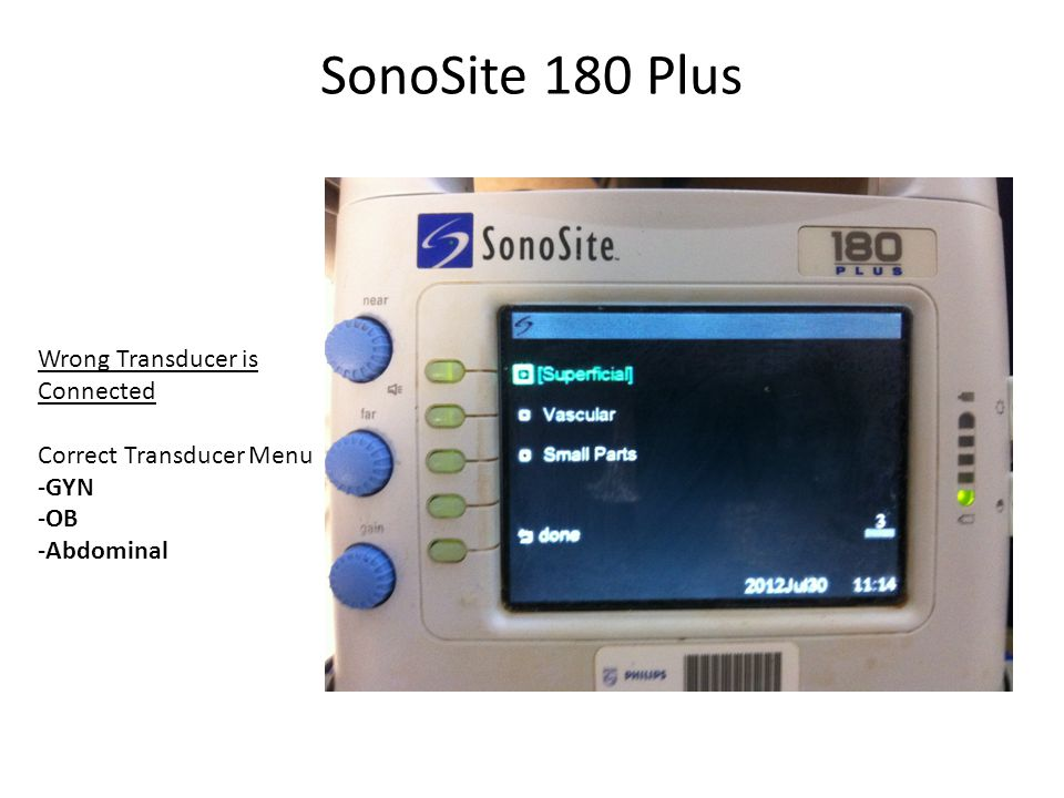 SonoSite 180 Plus Wrong Transducer is Connected