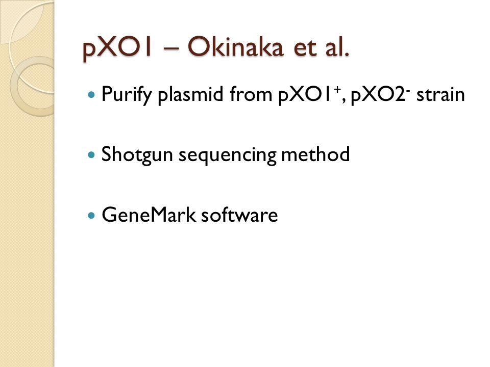 pXO1 – Okinaka et al. Purify plasmid from pXO1+, pXO2- strain