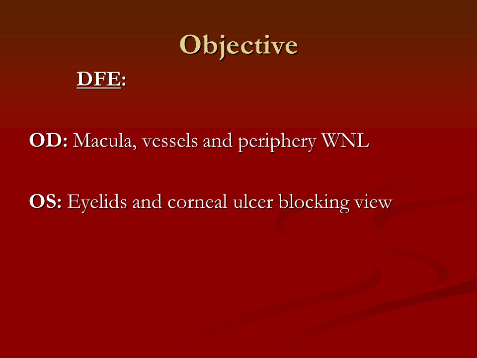 Objective DFE: OD: Macula, vessels and periphery WNL OS: Eyelids and corneal ulcer blocking view
