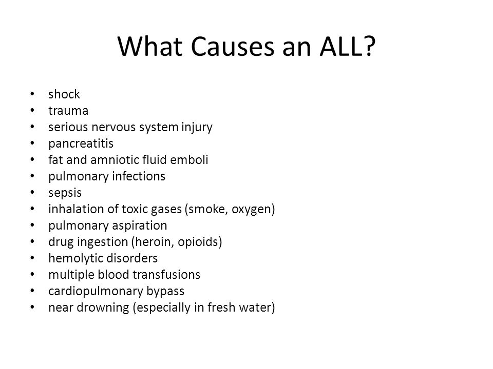 What Causes an ALL shock trauma serious nervous system injury