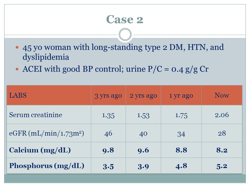 Case 2 45 yo woman with long-standing type 2 DM, HTN, and dyslipidemia