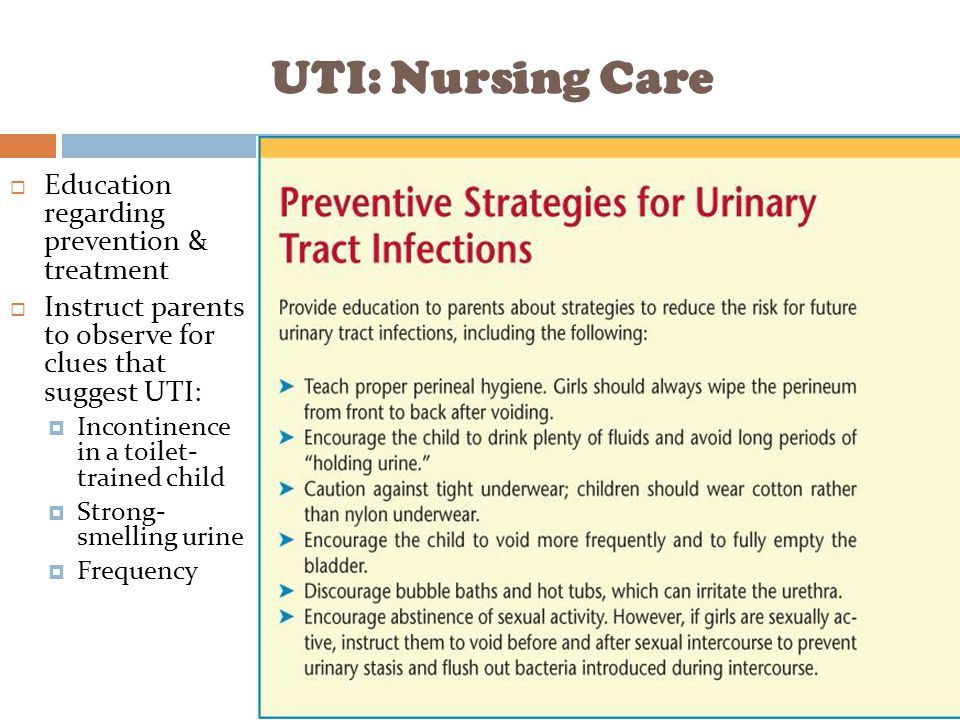 UTI: Nursing Care Education regarding prevention & treatment
