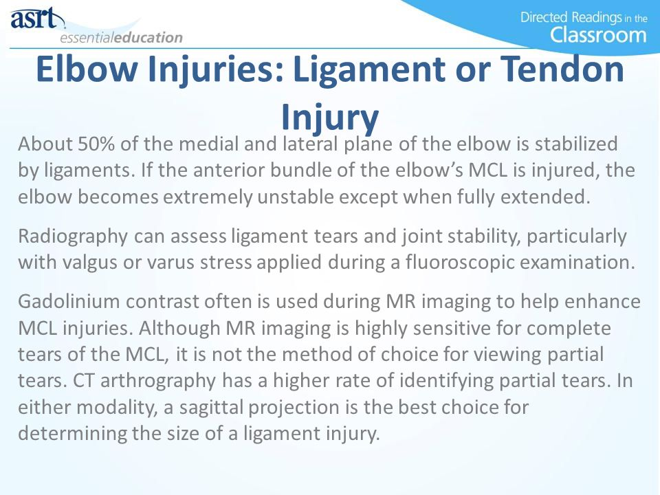 Elbow Injuries: Ligament or Tendon Injury