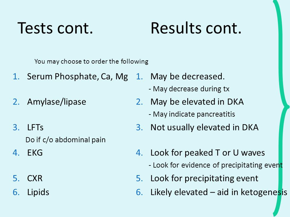 Tests cont. Results cont. Serum Phosphate, Ca, Mg Amylase/lipase LFTs