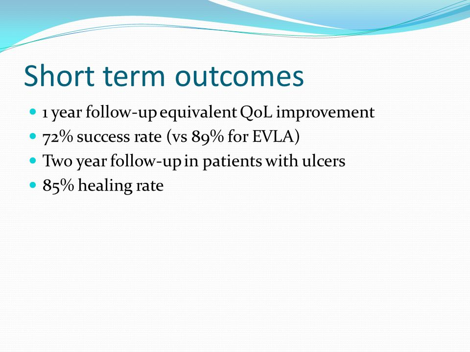 Short term outcomes 1 year follow-up equivalent QoL improvement