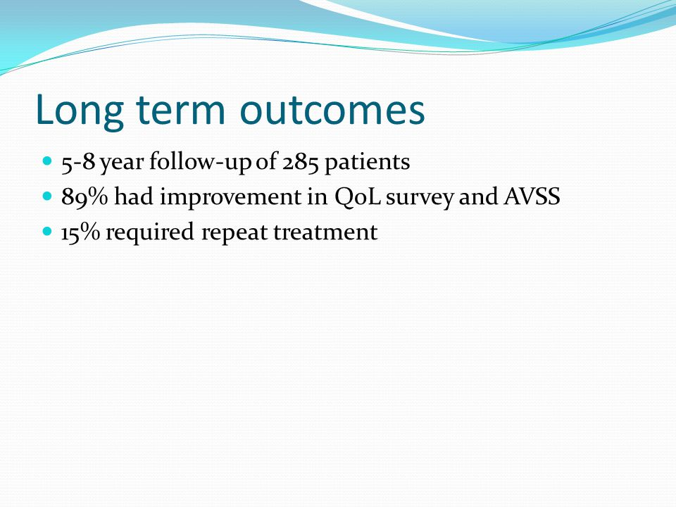 Long term outcomes 5-8 year follow-up of 285 patients