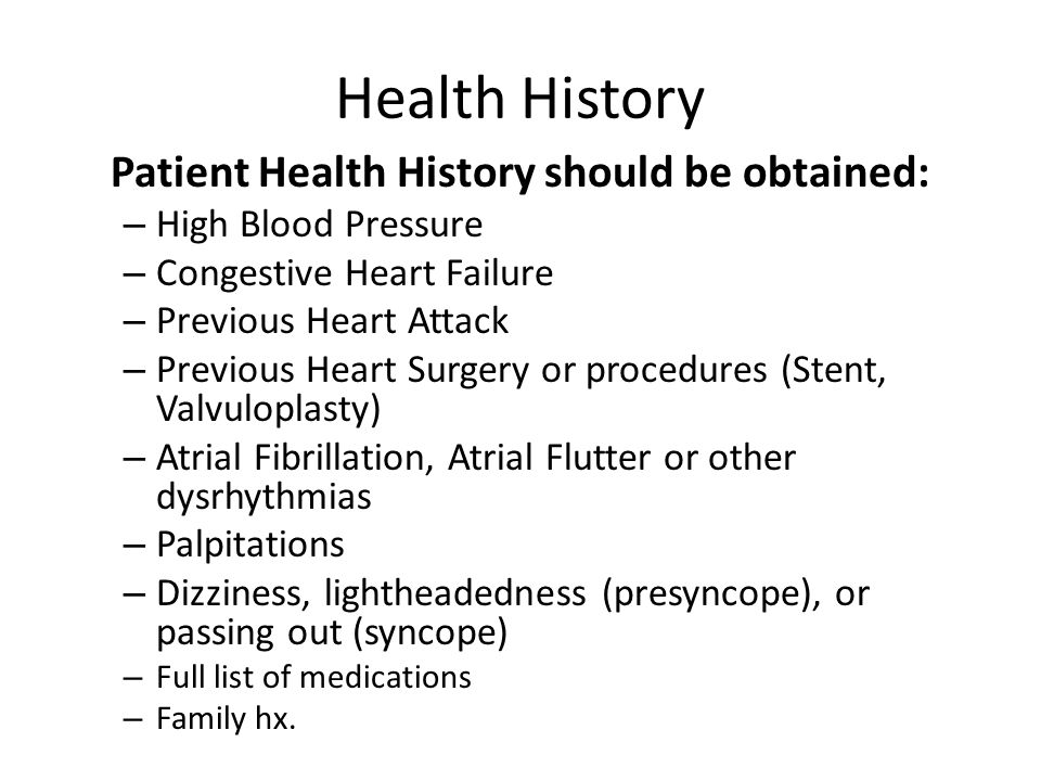 Health History High Blood Pressure Congestive Heart Failure