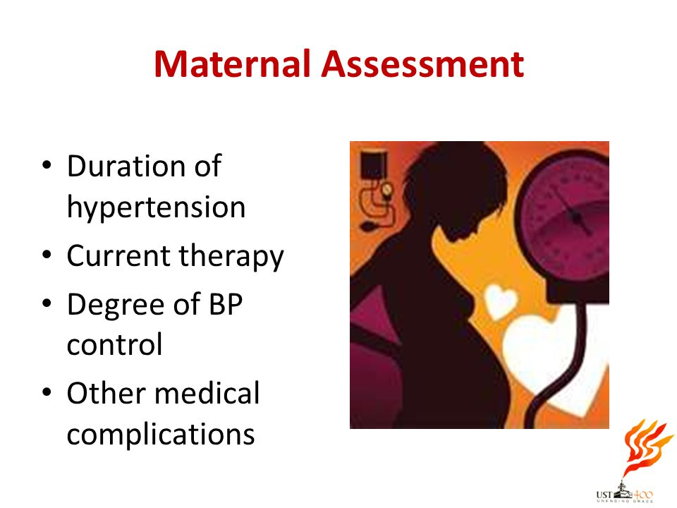 Maternal Assessment Duration of hypertension Current therapy