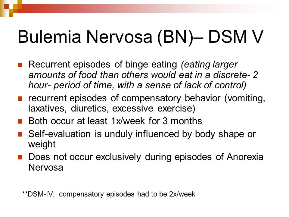 Bulemia Nervosa (BN)– DSM V
