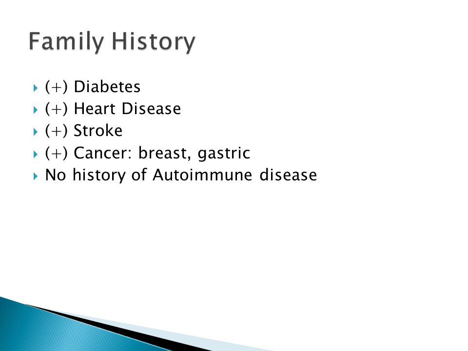 Family History (+) Diabetes (+) Heart Disease (+) Stroke