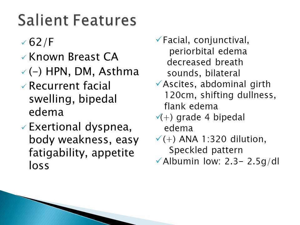 Salient Features 62/F Known Breast CA (-) HPN, DM, Asthma