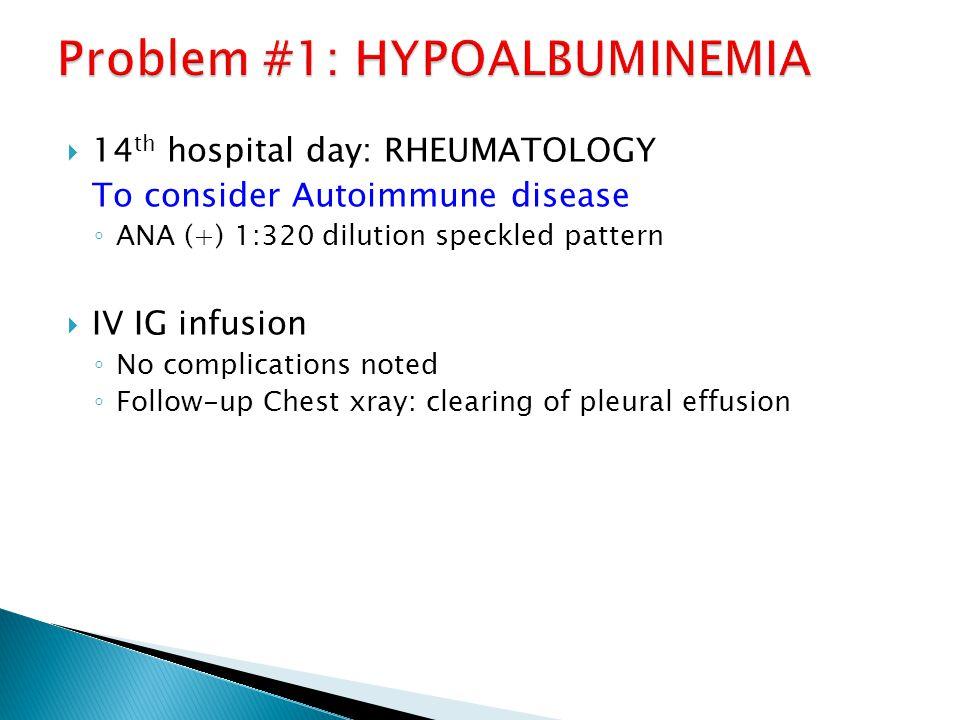 Problem #1: HYPOALBUMINEMIA