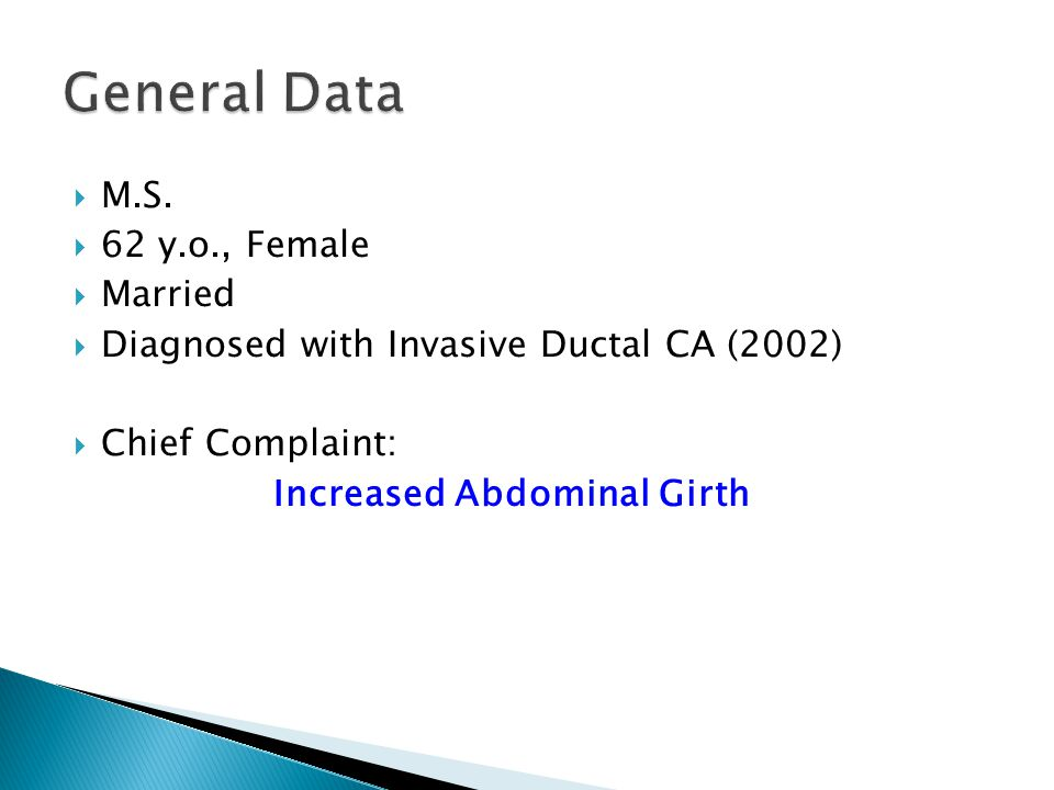 General Data M.S. 62 y.o., Female Married