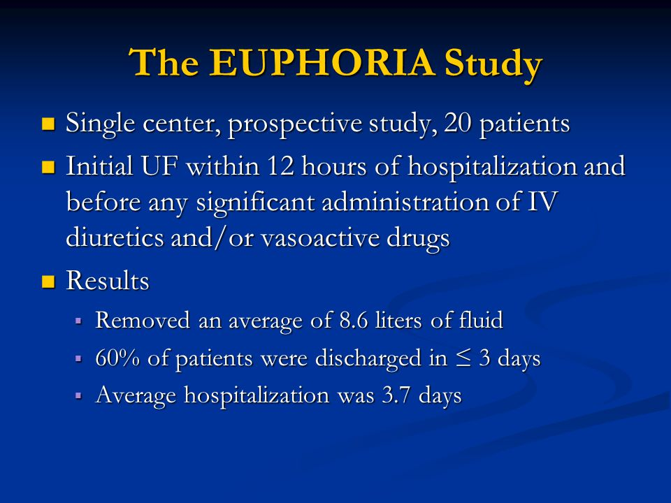 The EUPHORIA Study Single center, prospective study, 20 patients