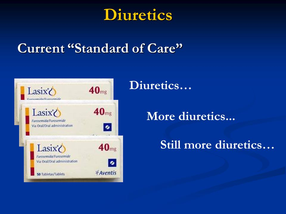 Diuretics Current Standard of Care Diuretics… Still more diuretics…