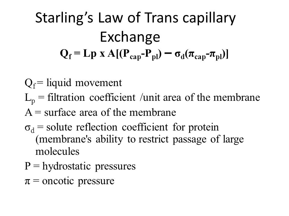 Starling's Law of Trans capillary Exchange