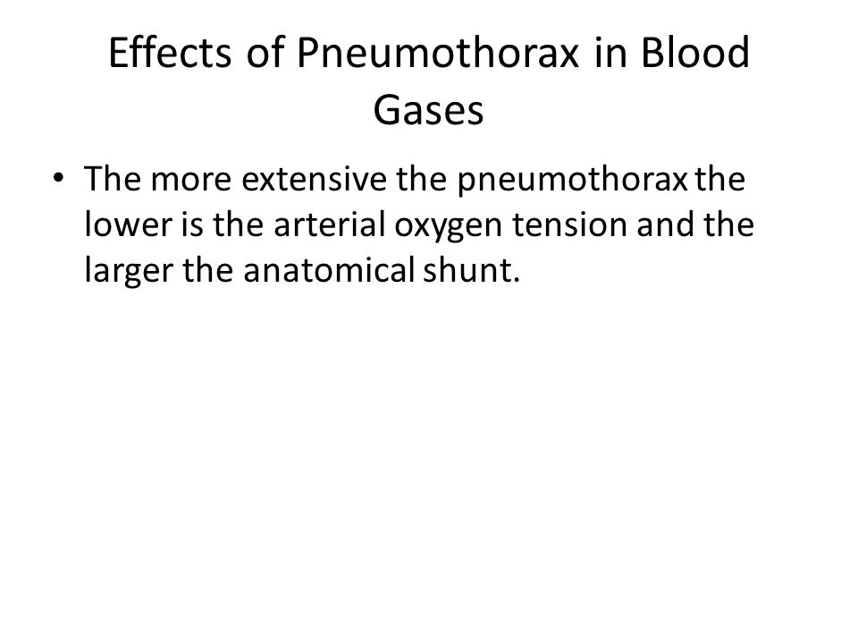 Effects of Pneumothorax in Blood Gases