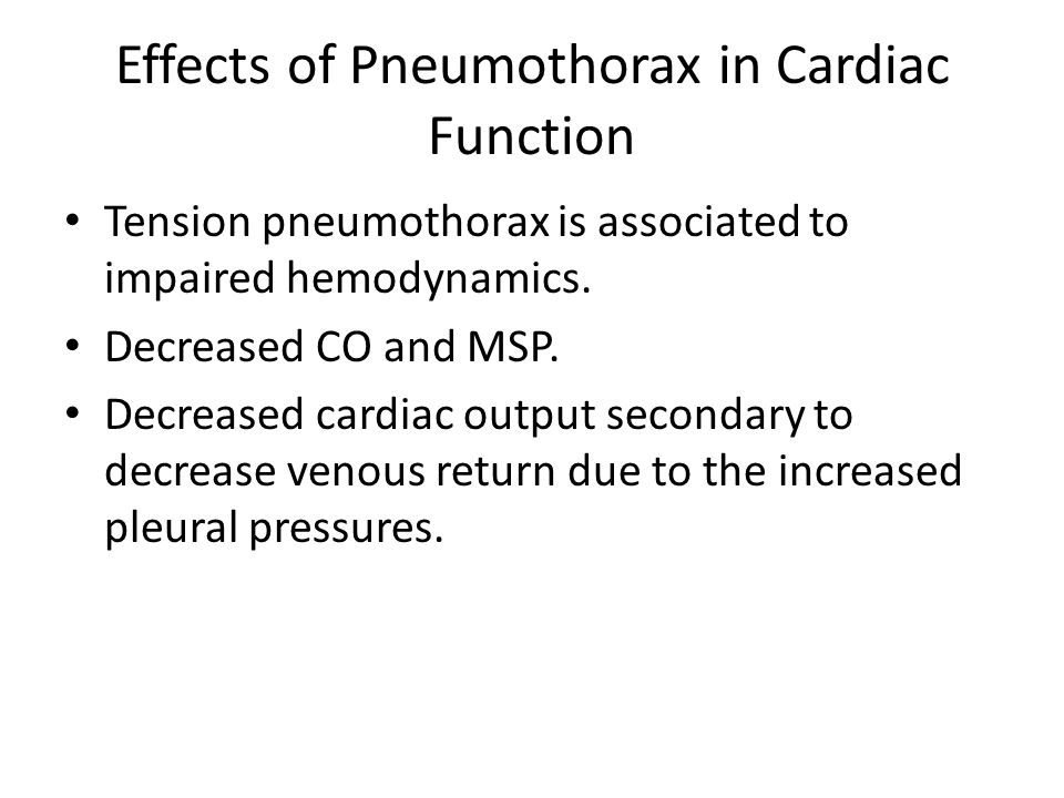 Effects of Pneumothorax in Cardiac Function