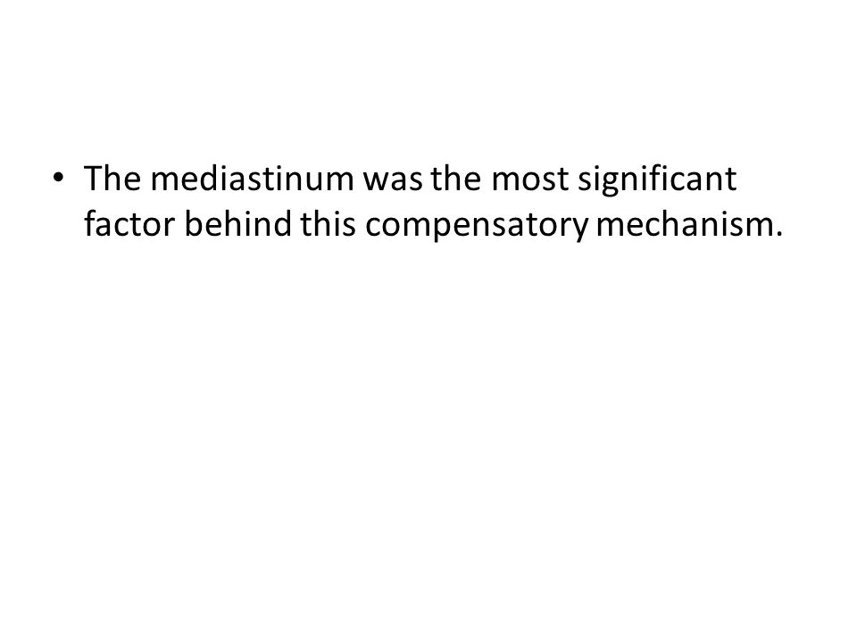 The mediastinum was the most significant factor behind this compensatory mechanism.