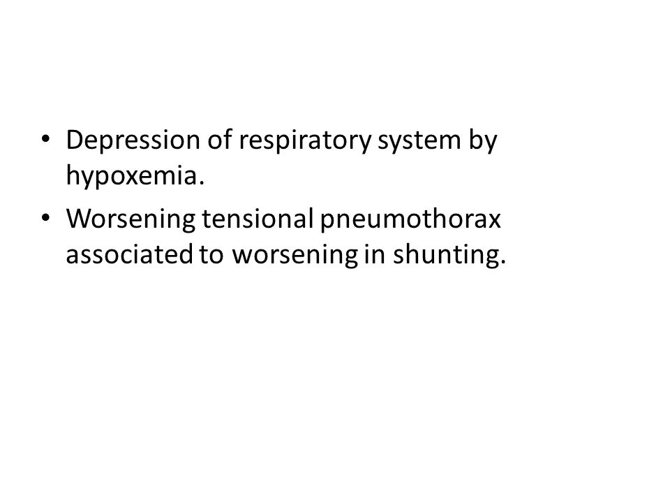 Depression of respiratory system by hypoxemia.