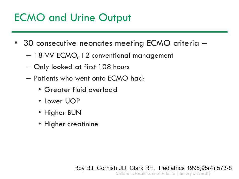 ECMO and Urine Output 30 consecutive neonates meeting ECMO criteria –