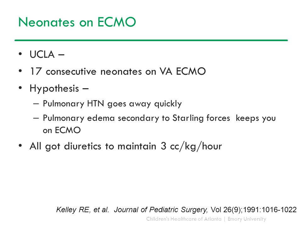 Neonates on ECMO UCLA – 17 consecutive neonates on VA ECMO