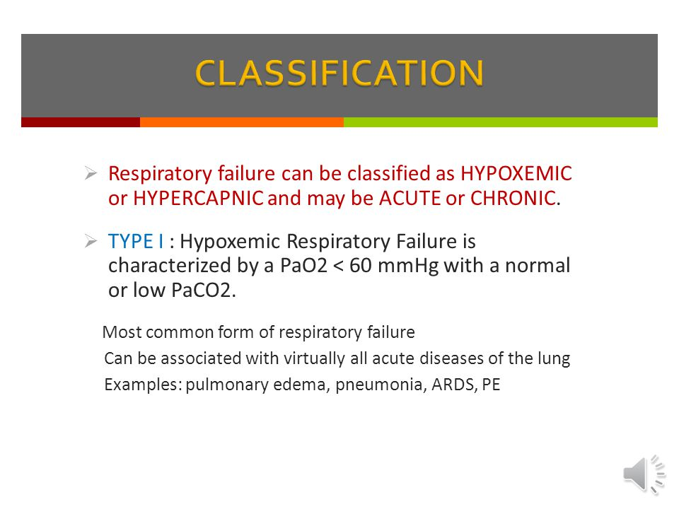 CLASSIFICATION Respiratory failure can be classified as HYPOXEMIC or HYPERCAPNIC and may be ACUTE or CHRONIC.