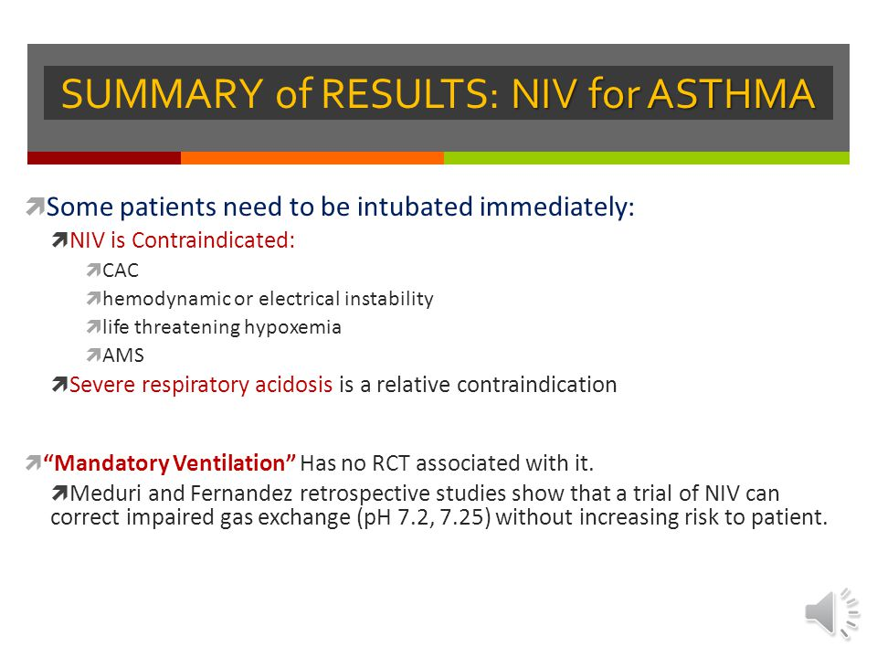 SUMMARY of RESULTS: NIV for ASTHMA