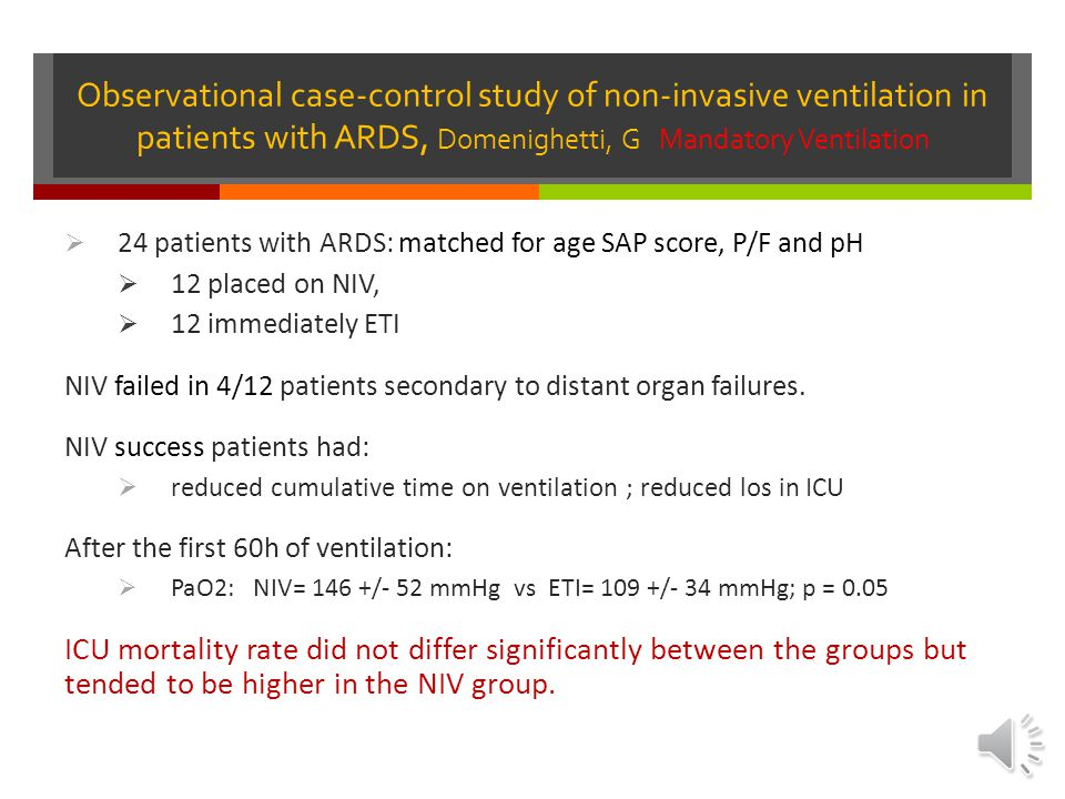 Observational case-control study of non-invasive ventilation in patients with ARDS, Domenighetti, G Mandatory Ventilation