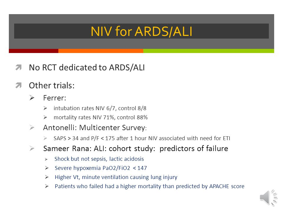 NIV for ARDS/ALI No RCT dedicated to ARDS/ALI Other trials: Ferrer: