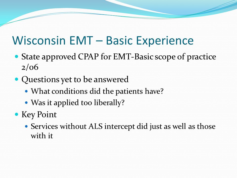 Wisconsin EMT – Basic Experience