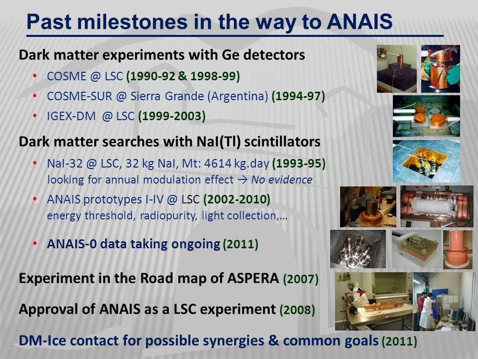Past milestones in the way to ANAIS