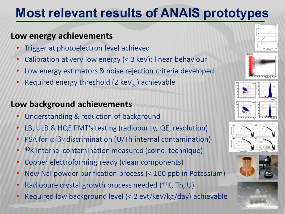 Most relevant results of ANAIS prototypes