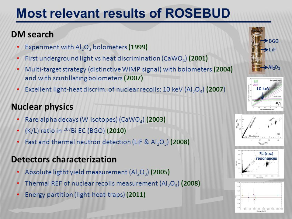 Most relevant results of ROSEBUD