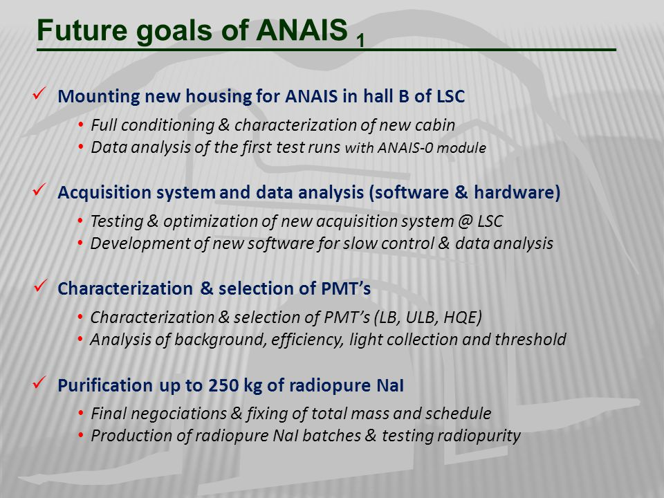 Future goals of ANAIS 1 Mounting new housing for ANAIS in hall B of LSC. Full conditioning & characterization of new cabin.